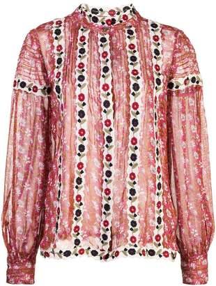 Sea sheer floral blouse
