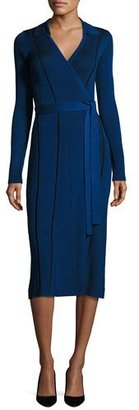 Diane von Furstenberg Transfer Rib Wrap Dress, Blue $468 thestylecure.com