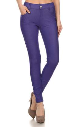 ICONOFLASH Women's Jeggings - Pull On Slimming Cotton Jean Like Leggings