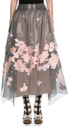 Fendi Floral Fil Coupé Organza Skirt, Multicolor $2,500 thestylecure.com