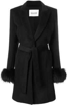 Ava Adore Pompelmo racoon fur trim coat