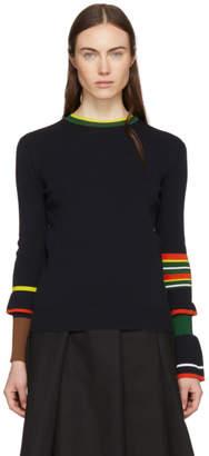Enfold Navy Frills Sleeve Crewneck Sweater