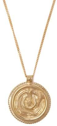 Saint Laurent Embossed Snake Pendant Necklace - Womens - Gold
