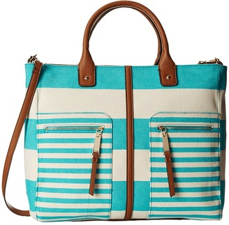 Tommy Hilfiger Rugby Stripe Convertible Tote $128 thestylecure.com