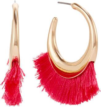 Catherine Stein Gold-Tone & Pink Tassel Hoop Earrings