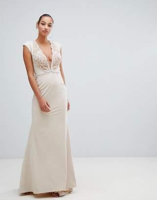 Forever Unique lace trim maxi dress