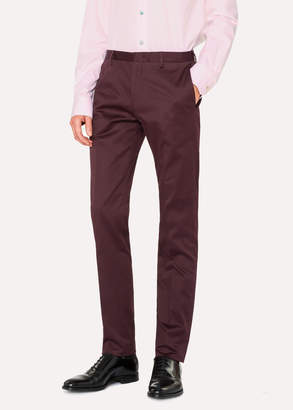 Paul Smith Men's Slim-Fit Burgundy Stretch-Cotton Chinos
