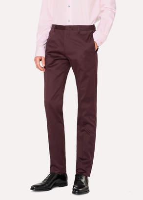 Paul Smith Men's Slim-Fit Burgundy Stretch-Cotton Chinos