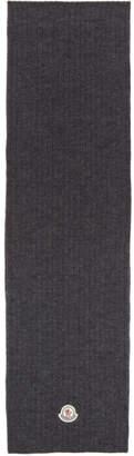 Moncler Grey Wool Ribbed Scarf