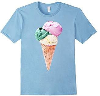 Ice Cream Cone Triple Scoop Pastel Summer Graphic T-Shirt
