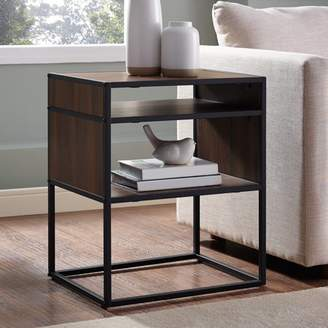 """Manor Park 20"""" Metal and Wood Side Table with Open Shelf - Dark Walnut"""