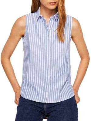 MANGO Paula Sleeveless Button-Down Shirt