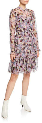 Erdem Danielle Floral-Print Button-Front Dress