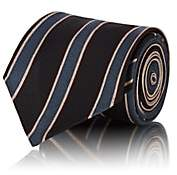 Fendi Men's Logo-Striped Silk Faille Necktie-Black