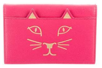Charlotte Olympia Leather Feline Clutch