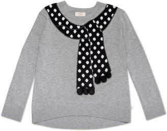 Kate Spade trompe l'oeil polka-dot scarf sweater, size 7-14