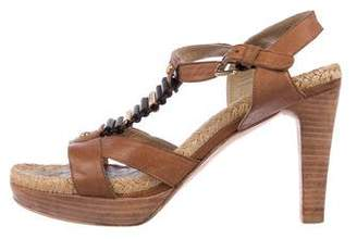 Stuart Weitzman Leather T-Strap Sandals