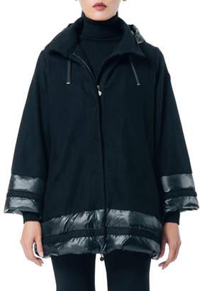 SNOWMAN New York Ritual Hooded Cape Coat w/ Down-Trim