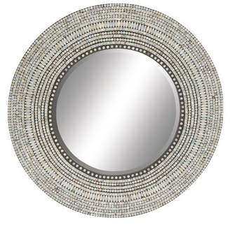 DecMode Decmode Wood Shell Inlay Round Mirror, Multi Color
