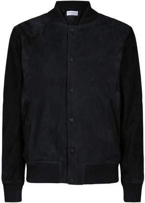 Officine Generale Leather Varsity Jacket