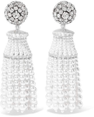 Oscar de la Renta Crystal And Faux Pearl Clip Earrings - White
