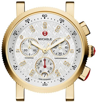 MICHELE Sport Sail 18 Diamond Gold Watch Head, 38mm $995 thestylecure.com