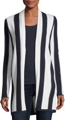 Neiman Marcus Cashmere-Blend Metallic Stripe Open-Front Cardigan