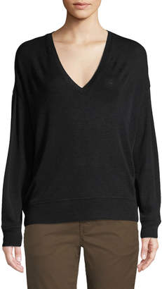 Vince Drop-Shoulder V-Neck Wool Pullover Sweater