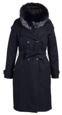 The Fur Salon Fox Fur-Trim Trench Coat