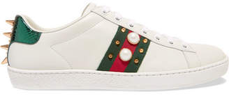 Gucci Ace Faux Pearl-embellished Metallic Watersnake-trimmed Leather Sneakers - White