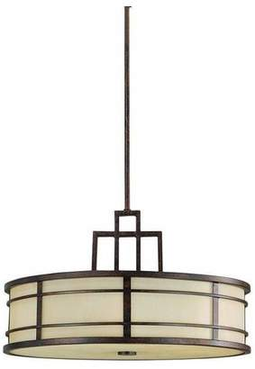 Feiss Fusion 3-Light Grecian Bronze Amber Ribbed Glass Drum Shade Pendant Light