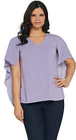 Halston H by Cape Sleeve Woven V-Neck Top