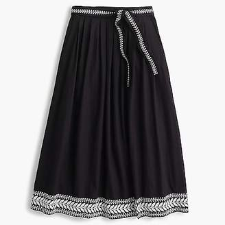 J.Crew Embroidered midi skirt
