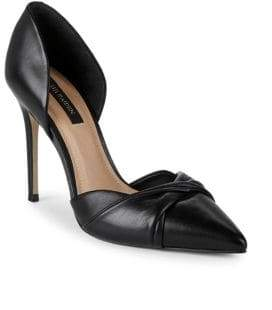 Ava & Aiden Twist Stiletto-Heel Leather Pumps