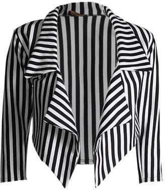 Lush Lane Womens 3⁄4 Sleeves Stripes Print Waterfall Crop Blazer
