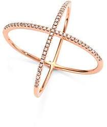 Ef Collection Women's X Diamond & 14K Rose Gold Ring