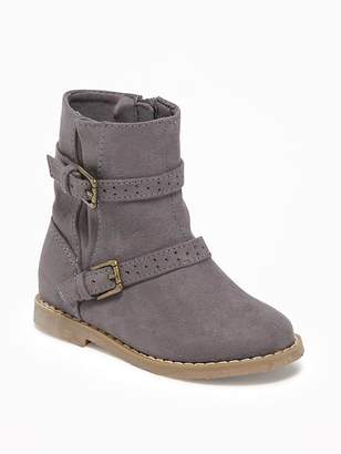 Old Navy Sueded Buckled Boots for Toddler Girls
