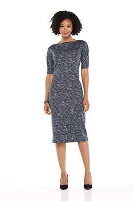 Maggy London Women's Brushed Abstract Jacquard Novelty Sheath Elbow Sleeve