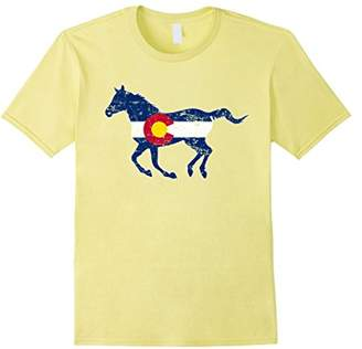 Co State of Colorado Horse Silhouette Flag Shirt Hometown