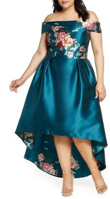 Chi Chi London Curve Ghabie Off the Shoulder High/Low Cocktail Dress