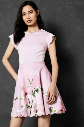 Next Womens Ted Baker Grettae Pink Floral V-Neck Skater Dress