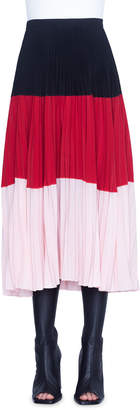 Akris Punto Colorblocked Crepe Bell-Shaped Skirt