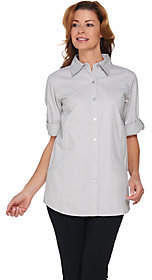 Joan Rivers Classics Collection Joan Rivers Lightweight Denim Boyfriend Shirt wScoop Pockets