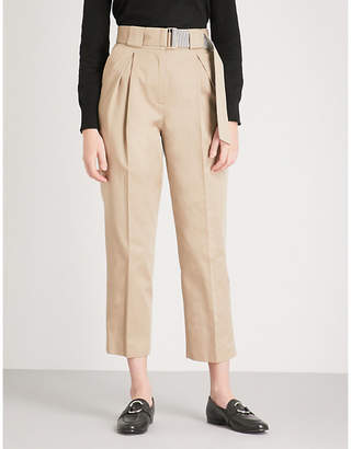 Claudie Pierlot Belted cropped tapered cotton trousers