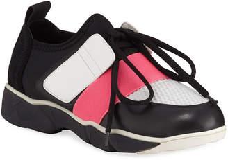 Neiman Marcus Colorblock Leather & Neoprene Trainer Sneakers