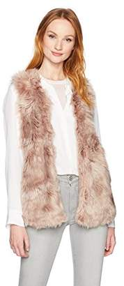 True Grit Dylan by Women's Melange Long Faux Fur Vest with Pockets and Lining
