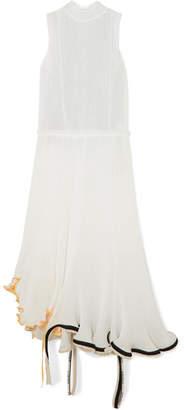 Loewe Canvas-trimmed Plissé-georgette And Linen-gauze Midi Dress - White