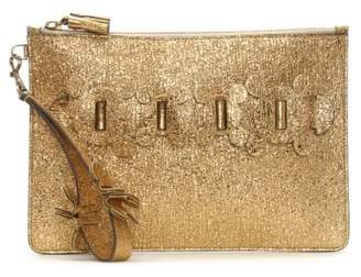 Anya Hindmarch Circulus Gold Metallic Leather Large Top Zip Pouch