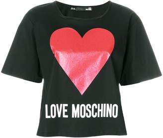 Love Moschino glitter heart cropped T-shirt