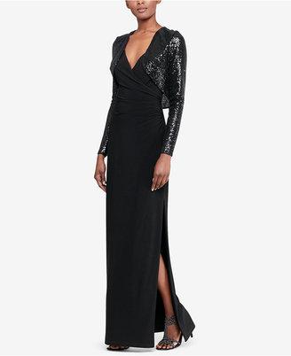 Lauren Ralph Lauren Surplice Jersey Gown & Sequin Jacket $230 thestylecure.com